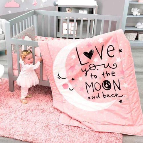 (HOT Seller Moon and Stars Crib Bedding Set Nursery for Baby Shower Gift 6 PCS)