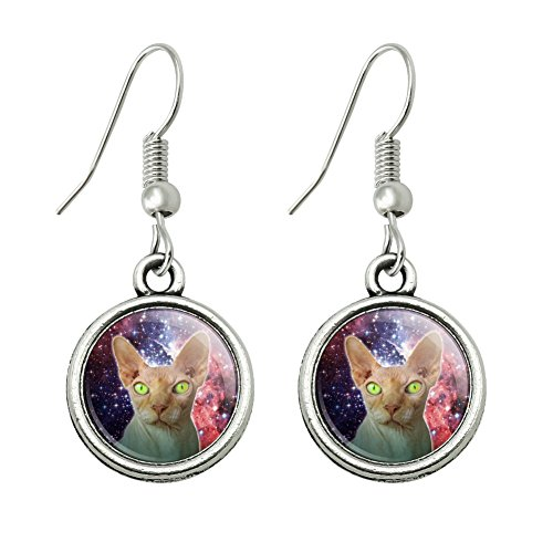 Sphynx Space Cat Novelty Dangling Drop Charm Earrings - Sphynx Cats In Costumes