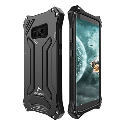 LIGHTDESIRE Galaxy S8 Plus Case, Shockproof Rugged Military Aluminum Bumper Frame with Anti-Slip Side Grip for Samsung Galaxy S8 Plus (Black)