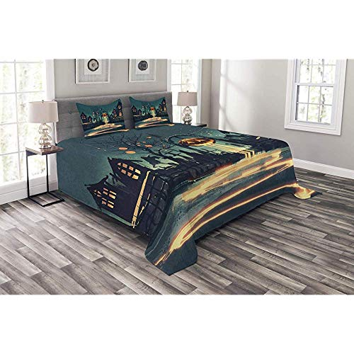 Lohebhuic Fantasy Coverlet Set King Size, Halloween Theme Night Pumpkin and Haunted House Ghost Town Artful Design Print, Decorative Quilted 3 Piece Bedspread Set with 2 Pillow Shams, Teal Orange ()