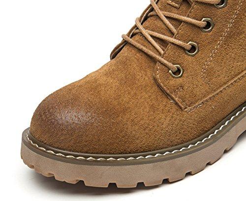 uBeauty Damen Leder Stiefel Chelsea Boots Flache Boots Klassischer Stiefeletten Schnüren Freizeitschuhe Khaki