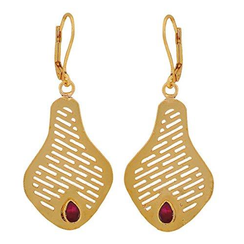 Maayra Kurta Filigree Earrings Maroon Dangler Drop Dailywear Jewellery by Maayra