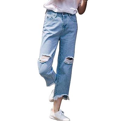 Pantalones Vaqueros De Cintura Alta De Mujer Boyfriend Vintage Agujero Ripped Jeans Casuales Mujeres Bolsillos Delanteros Pantalones Vaqueros De Pierna Recta Pantalones: Ropa y accesorios