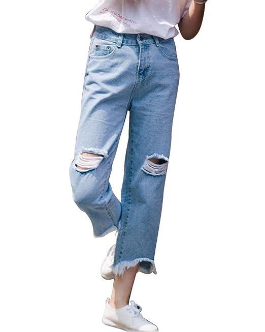 b13e7477a34b6d Elodiey Jeans A Vita Alta da Donna Strappati Boyfriend Vintage Jeans con  Tasche Anni 20 Anteriori Pantaloni Dritti in Jeans: Amazon.it: Abbigliamento