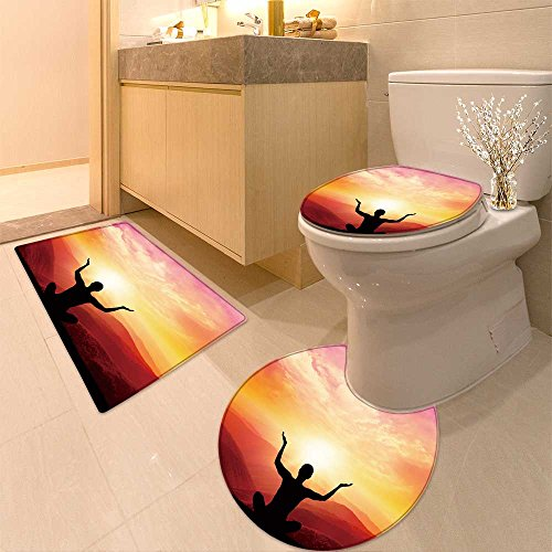 3 Piece Toilet lid cover mat set Yogas and meditation Very Absorbent Bathroom Bath Mat Contour Rug by NALAHOMEQQ