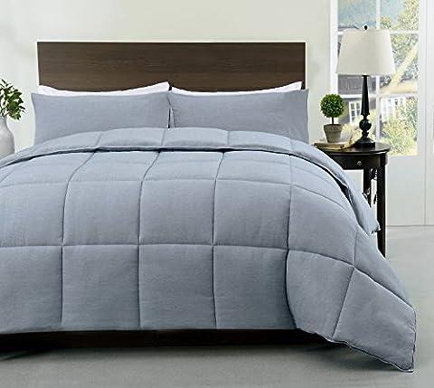Cozy Beddings S1602-3K Super/Blue Super King 3Pc Comforter Set Stone Blue,King - Blue Plush Mattress Set