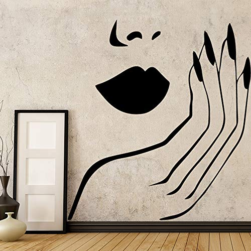 Sexy Wall Sticker Vinyl Salon Girl Face Red Lips Wall Decor wallstickers Home Decor Mural Living Room Bedroom Wall Decal l3 43x43cm]()