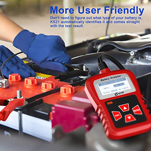 Kzyee KS21 Car Battery Tester, Automotive 100-1700 CCA 12V Battery Load Tester Cranking and Charging System Diagnostic Tool Digital Battery Analyzer by Kzyee (Image #5)