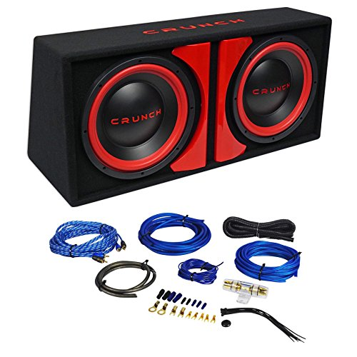 Crunch CR-212A 1000w Dual 12″ Powered Loaded Subwoofers In Enclosure + Wire Kit