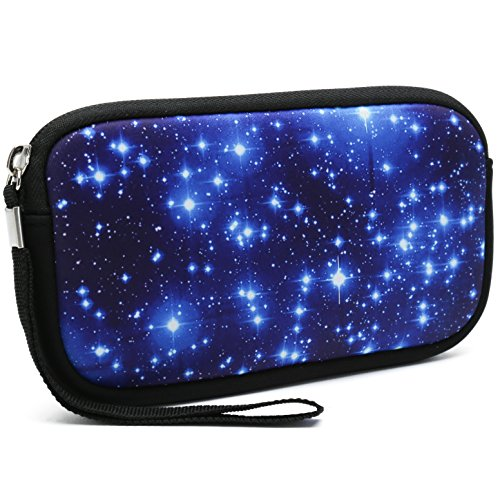 Unisex Portable Washable Travel All Smartphone Wristlets Bag Clutch Wallets, Change Purse,Pencil Bag,Cosmetic Bag Pouch Coin Purse Zipper Change Holder With Strap (Starry Sky)