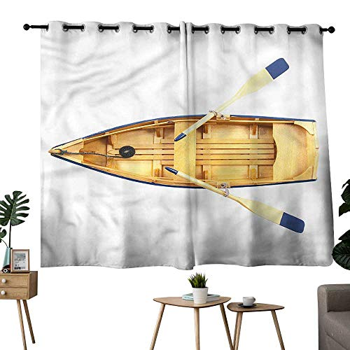(Williasm Microfiber Darkening Curtains Grommet Curtain for Bedroom Oar,Wood Fishing Boat with Paddles Privacy Assured Window Treatment W72 x L72)