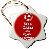 3dRose orn_159642_1 Keep Calm and Play Soccer Lovers Goalie Snowflake Porcelain Ornament, 3-Inch, Red