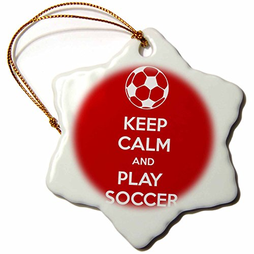3dRose orn_159642_1 Keep Calm and Play Soccer Lovers Goalie Snowflake Porcelain Ornament, 3-Inch, Red by 3dRose