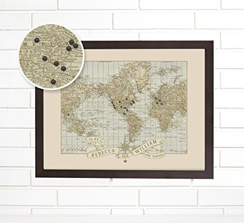 Personalized World Push Pin Map Art for Weddings & Anniversaries - Personalized World Map With Pins
