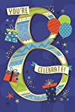 Age 8 Boy Birthday Card - Dark Blue Number, Presents & Balloons 7.75' x 5.25'