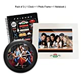 MC SID RAZZ Friends - Tv Series Combo Of On the Couch Table/Wall Clock + Central Perk White Photo Frame + Infographic Notebook- Pack of 3