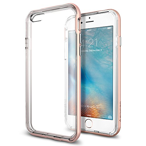 iPhone 6s Case, Spigen [Neo Hybrid EX] PREMIUM BUMPER [Rose Gold] Clear TPU / PC Frame Slim Dual Layer Premium Case for iPhone 6 (2014) / 6s (2015) - Rose Gold (SGP11725)