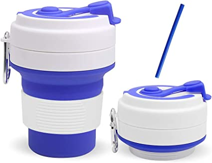 Picnic  and Commuting to Work Camping Drinking Mug with Lid,FDA approved  for Travel Collapsible Silicone Cup Portable Foldable Sterilizing Cup Outdoor Hiking