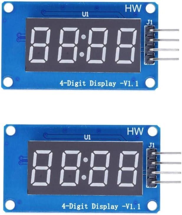 Seazoon 2PCS 4 Bits Digital Tube LED Display Module Board W/Clock Display TM1637 for Arduino Oc65