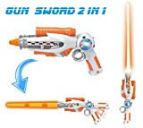 gun swords - [2-in-1] Transforming Gun Sword Light Up Saber Space Blaster Weapon for Kids with Lights & Sounds