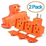 ClearMax 3 Outlet Heavy Duty Indoor Outdoor Power Splitter with Outlet Covers (Orange - 2 Pack)