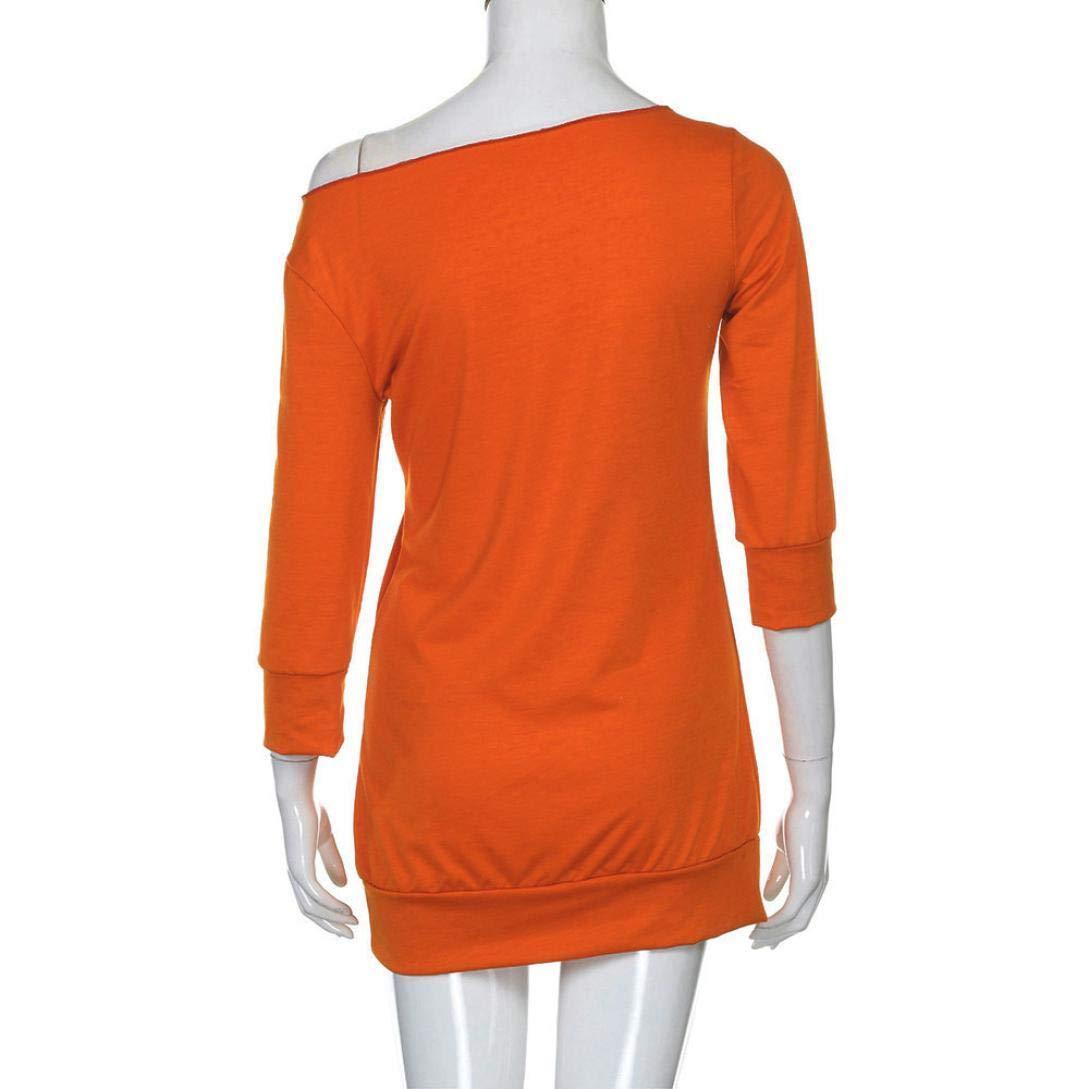 BaZhaHei-Halloween, Vestido de Disfraces de Calabaza de Hombro frío de Mujer Vestido de Disfraces de Halloween Camisetas de Mujer Vestido de Manga Larga sin ...