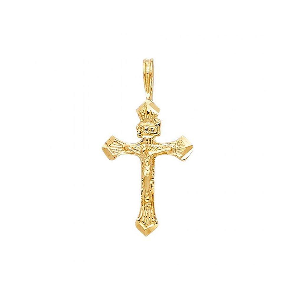 14k Yellow Gold Religious Crucifix Pendant Charm American Set Co