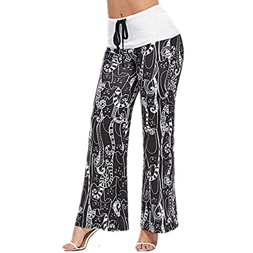 Sunmoot Clearance Sale Pajama Pants for Womens Print Wide Leg Pants Stretch Drawstring Palazzo Casual Loose Trousers R-Black -