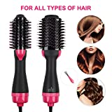 Hair Dryer Brush - MASWATER Hair Dryer Styler Brush 3 in 1 Salon Hot Air Brush Multi-functional Straightening & Curly Hair Comb with Negative Ions for All Hairstyle(110v 1000W)