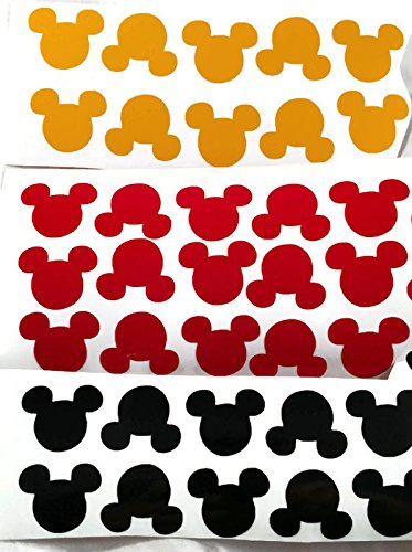 8961072b87 Amazon.com: Vinyl Disney Mickey Mouse Head Die Cut Stickers Black, Red &  Yellow - 75ct 1 Inch