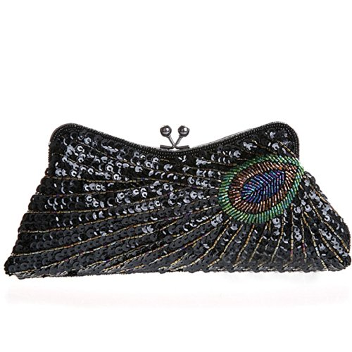 Women's Wedding Peacock Belsen Black Sequined Evening Clutch qadwf