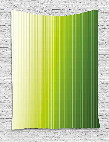 asddcdfdd Sage Tapestry, Ombre Style Composition with Color Shades and Vertical Digital Stripes, Wall Hanging for Bedroom Living Room Dorm, 60 W X 80 L Inches, Green Pale Green White