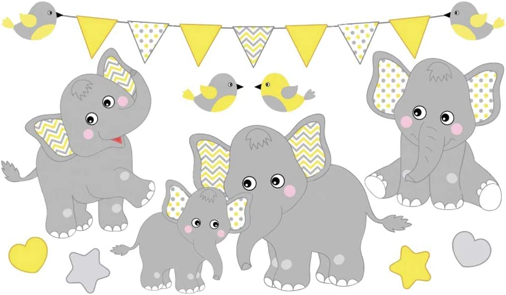 Yeele 10x8ft Baby Elephant Backdrop Baby Shower Cartoon Elephant Family Photography Background Newborn Infant Portrait Birthday Party Photo Booth Kids Acting Show Photoshoot Wallpaper