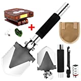 BlueStraw Folding Shovel with COB Cap Lamp, Multi-function Military Survival Spade Trowel with Bottle Opener/Steel Spade/Compass, Entrenching Tool Emergency Kit for Camping Backpacking Gardening