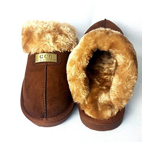 GCG Geniune Ladies Faux Sheepskin Slippers Mules Non Slip Hard Sole Womens BROWN 7 Brown 4gt2J5z