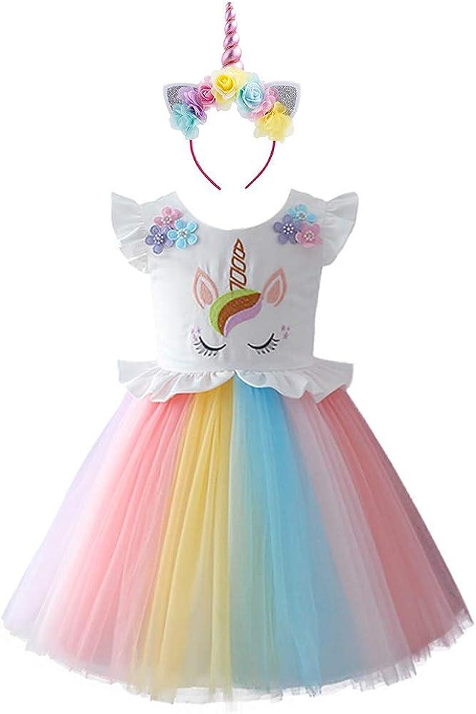 IWEMEK Disfraz de Halloween Unicornio Vestido del Arco Iris Traje Princesa Flor Cosplay Fiesta Bautizo Cumpleaños Comunión Ceremonia Carnaval Boda Navidad Fotografía Vestir 1-7 Años