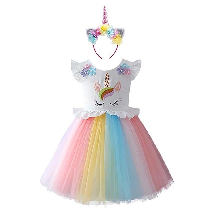 53cbb2e4e IWEMEK Vestido de tutú para niñas con diseño de Unicornio y arcoíris, Manga  con Volantes