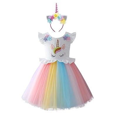 5dd84055f84390 IWEMEK Bébé Fille Licorne Deguisement Robe d'anniversaire Princesse Enfants  Halloween Cosplay Robe sans Manches en Arc-en-Ciel Fête de Mariage de ...
