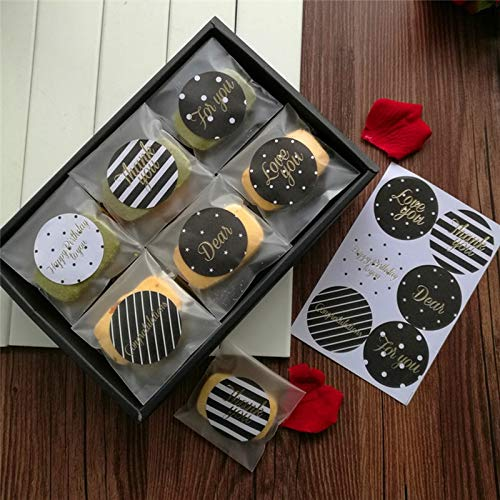 Handmade Label. Sticker Handmade Stickers 60Pcs/lot Black Gold Blocking Round Sealed Stickers Gift Stickers DIY Stickers Handmade Gift Cake Biscuit Label Sticker Dia 4cm