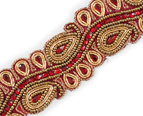 """2"""" Wide Ruby Red Beaded Trim Paisley Gold Bullion with Sequins 1.5 Yards"""