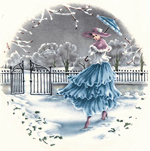 """1542 Wind Swept Ladies Waterslide Ceramic Decals By The Sheet (8"""" Winter 1 pc)"""