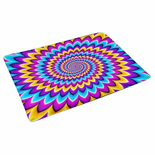 INTERESTPRINT Multicolored Spirals Motion Illusion Indoor Doormat Latex Backing Non Slip Door Mat Entrance Rug 30