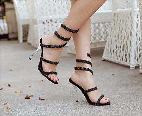 QIYUN.Z Nuevas Mujeres Bling Del Paillette De Punk Gladiador Mas El Tamano De Los Estiletes Sandalias Zapatos Romanos Negro