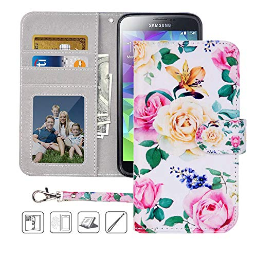 S5 Wallet Case, Galaxy S5 Case, MagicSky Premium PU Leather Flip Folio Case Cover with Wrist Strap,Card Slots, Cash Pocket, Kickstand for Samsung Galaxy S5 (Flower) (Cell Phone Cases For Samsung Galaxy S5)