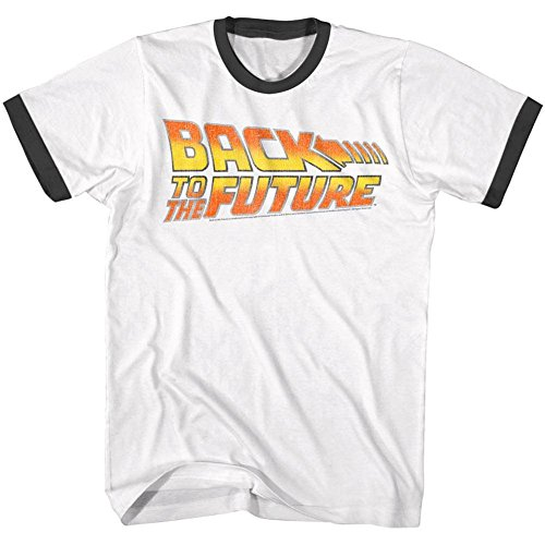 Back To The Future Ringer T Shirt Worn Logo Adult Short Sleeve XL - Time Ringer T-shirt