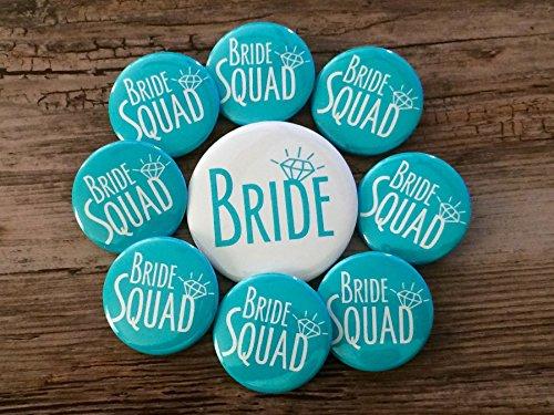 Party Buttons Bachelorette (Bride Squad Turquoise Bachelorette Party Button Set)