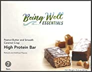 Being Well Essentials Peanut Butter and Smooth Caramel Crisp High Protein Bars (Box of 7)