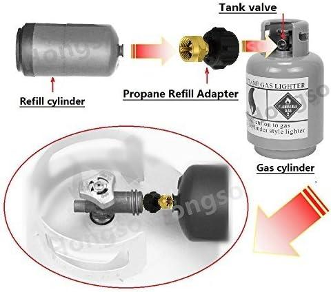 Hongso propano Adaptador de Recarga Gas LP 1 LB Tanque Cilindro Acoplador Universal para QCC1 Type1 Pol Tanque de propano y un depósito de Libra ...
