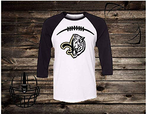 - Handmade Football Shirt NFL Football College Football Shirt LSU New Orleans Saints Half fleur de lis Half Tiger