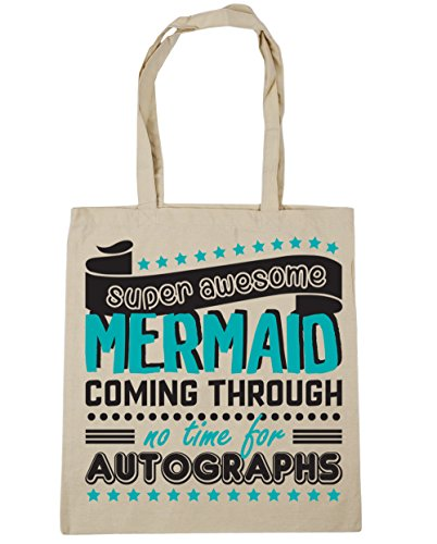Gym Mermaid Tote Bag Beach Super Shopping Through 10 Natural litres Autographs x38cm Awesome No 42cm HippoWarehouse For Time Coming 4POE7Oq
